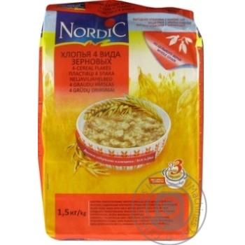 Скидка на Хлопья Нордик 4 вида зерновых из цельного зерна 1500г