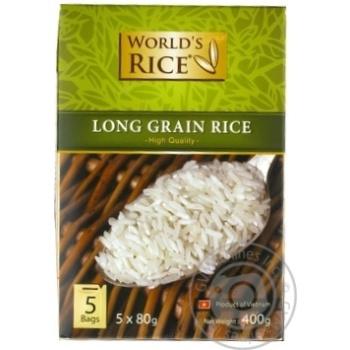 Рис Ворлдс Райс вьетнамский длиннозерный шлифованный в пакетиках 400г