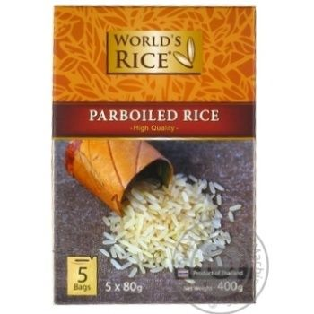 Groats rice paraboyild World's rice long grain white 400g cardboard box