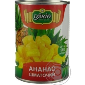 Ананас Dario кусочки в сиропе 580мл - купить, цены на Novus - фото 1