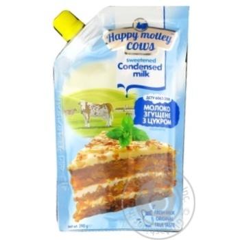 Молоко згущене з цукром нежирне Happy Motley Cows дой-пак, 290 г