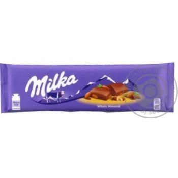Шоколад Milka молочный с целым миндалем 185г