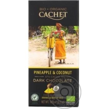 Шоколад черный Cachet органический с ананасом и кокосом 57% 100г - купить, цены на Novus - фото 1