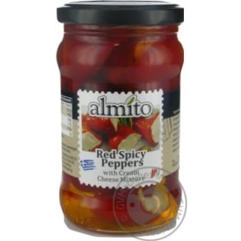 Перец Almito красный острый с начинкой из сливочного сыра 270г