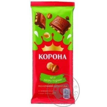 Шоколад Корона молочный с целыми лесными орехами 90г - купить, цены на Novus - фото 1