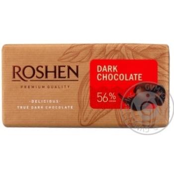 Шоколад Roshen Classic екстрачорний 56% 90г паперова упаковка Україна