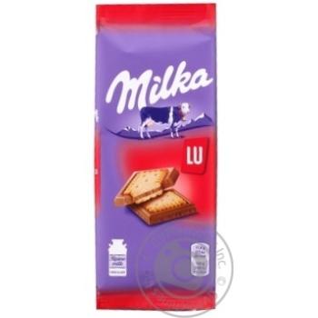 Шоколад Milka молочный с бисквитным печеньем Lu 87г - купить, цены на Восторг - фото 1