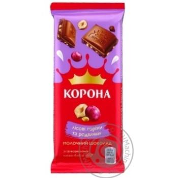 Шоколад Корона молочный с изюмом и лесными орехами 90г - купить, цены на Novus - фото 3