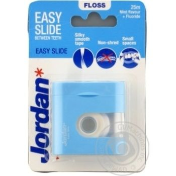 Зубні флоси з віском та зубною пастою не розшаровуєтся Jordan TT EasySlide Fresh floss 25м