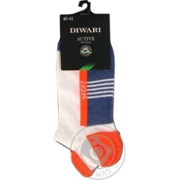 Шкарпетки чоловічі DiWaRi Active 16С72 джинс/помаранчевий р.25 083 шт