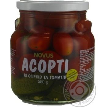 Vegetables tomato cornichon Novus Private import pickled 550g