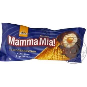 Морозиво Три Ведмеді Mamma Mia! Карамель у цукровому ріжку 70г