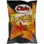 Corn chips Chio Tortillas Hot Chili with chili pepper 125g Germany