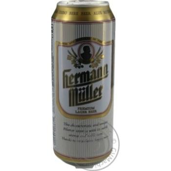 Пиво Герман Мюллер светлое 4.5%об. железная банка 500мл Польша