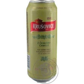 Пиво Krusovice Svetle светлое ж/б 4,2% 0,5л - купить, цены на Novus - фото 3