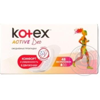 Прокладки ежедневные Kotex Deo Active ароматизированные 48шт - купить, цены на Novus - фото 1