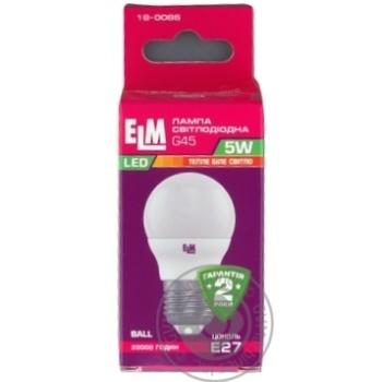 Лампа ELM Led сфера  5W PA10 E27 3000 D45 18-0086