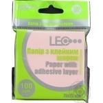 Бумага Leo липкий слой роз 75х75мм 100лис L1201-07 шт