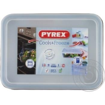 Форма для запікання Pyrex Classic скляна з кришкою прямокутна 19х14см, 0.8л