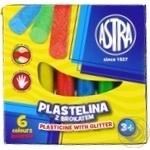 Пластилін Astra з глітером 6 кольорів