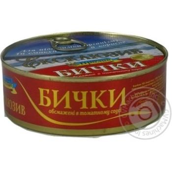 Бычки Пролив Эксклюзив обжаренные в томатном соусе 240г