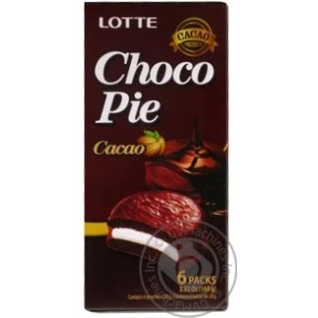Печиво бісквітне Lotte Choco Pie Cacao прошароване глазуроване 6*28г 168г - купити, ціни на МегаМаркет - фото 2
