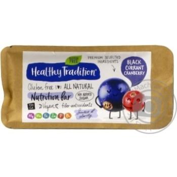 Батончик Healthy Tradition Смородина-Клюква питательный без сахара и глютена 34г - купить, цены на МегаМаркет - фото 1