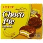 Печенье бисквитное Lotte Choco Pie Банан прослоенное глазированное 12*28г 336г - купить, цены на МегаМаркет - фото 1
