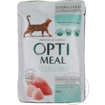 Корм консервований для стерилізованих котів з індичкою та курячим філе у соусі Optimeal 85г