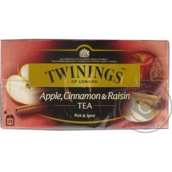 Чай чорний дрiбний зi смаком яблука-корицi-родзинки Twinings og London 25 пак