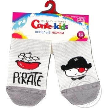 Шкарпетки дитячі Conte Kids веселі ніжки 17С-10СП, розмір 12, 335 світло-сірий
