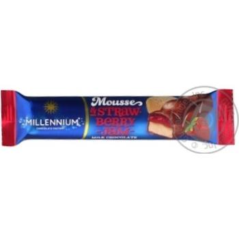 Скидка на Шоколад Millennium Mousse & Strawberry Jam молочный с муссовой и клубничной начинкой 33г