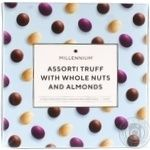 Millenium Assorted truffles with whole nuts and almonds in black white and milk chocolate candy 180g