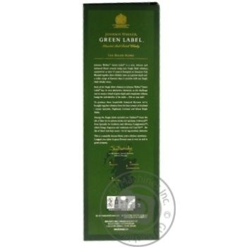 Виски Johnnie Walker Green Label 15 лет 43% 0,7л в коробке - купить, цены на Novus - фото 2