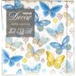 Серветки паперові з малюнком 3 шарові Метелики 33*33 Novus 20шт