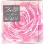Серветки паперові з малюнком 3 шарові Бутон троянди 33*33 Novus 20шт