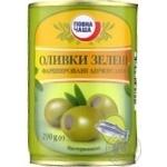 Оливки Повна Чаша зеленые фарширов анчоусами паст 290г