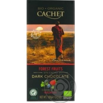Шоколад черный Cachet органический с лесными ягодами 57% 100г - купить, цены на Novus - фото 1