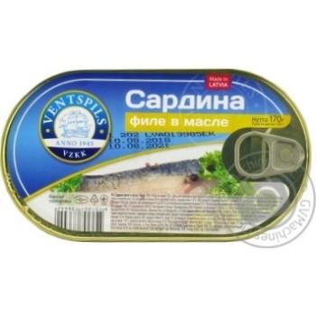 Сардина Ventspils филе в масле 170г
