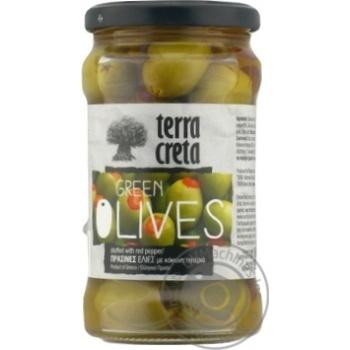 Оливки Terra Creta зеленые с перцем 315мл