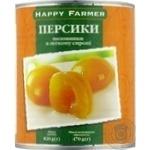 Персики Happy Farmer половинки в легком сиропе 820г