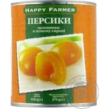 Персики Happy Farmer половинки в легкому сиропі  820г - купити, ціни на МегаМаркет - фото 1