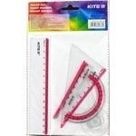 Kite Set for school ruler 15cm, 2 beams, protractor pink