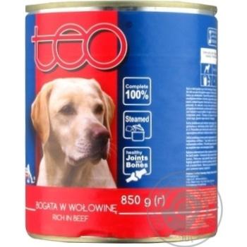 Корм для собак Teo с говядиной в соусе 850г