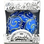 Куля Візерунок новорічний на синьому.Куля д.100мм Галімпекс