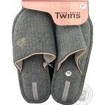 Twins Gray Women's House Slippers With Embroidery 38-39s