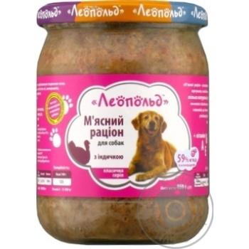 Корм Леопольд Мясной рацион влажный с индейкой для собак 460г - купить, цены на МегаМаркет - фото 1