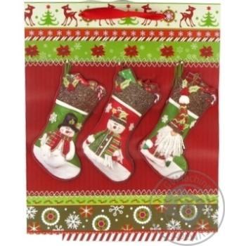 Пакет паперовий для подарунку різдвяний 32смХ26см делюкс арт. XG