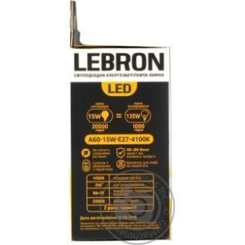 Лампа Lebron светодиодная A65 15W Е27 4100K - купить, цены на Ашан - фото 2