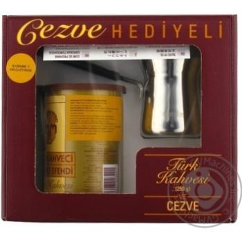 Kurukahveci Mehmet Efendi Ground Coffee 250g + Turk Coffee maker in box - buy, prices for MegaMarket - image 1